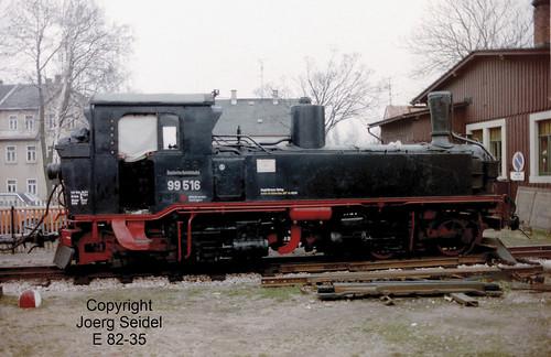 DE-08237 Rothenkirchen Bahnhof Dampflok 99 516 (Hartmann 1779/1892) Sächsische IV K  im März 1991