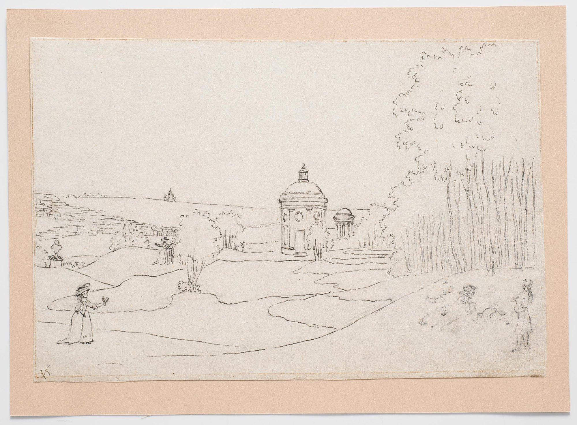 Вид Богородицкого парка с круглым павильоном и ротондой на дальнем плане