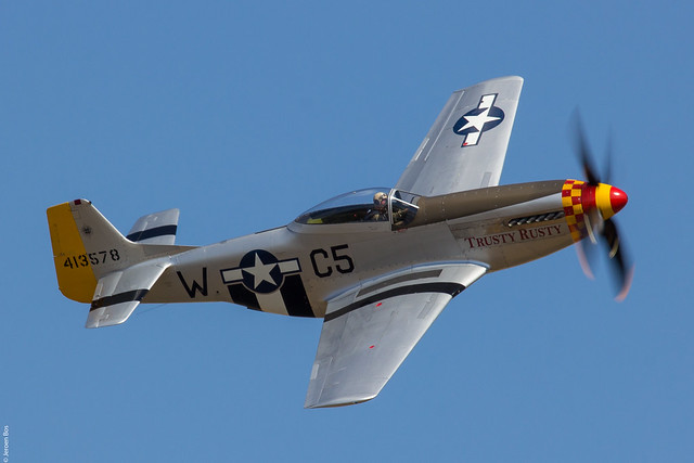 North American P51D Mustang 'Trusty Rusty' displaying at Duxford Flying Legends 2018
