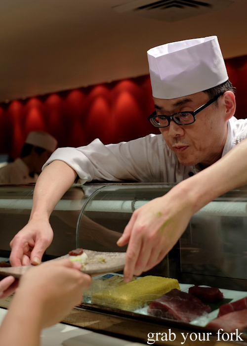 Chef Toshihiko Oe serving dango for dessert during his omakase at Masuya in Sydney