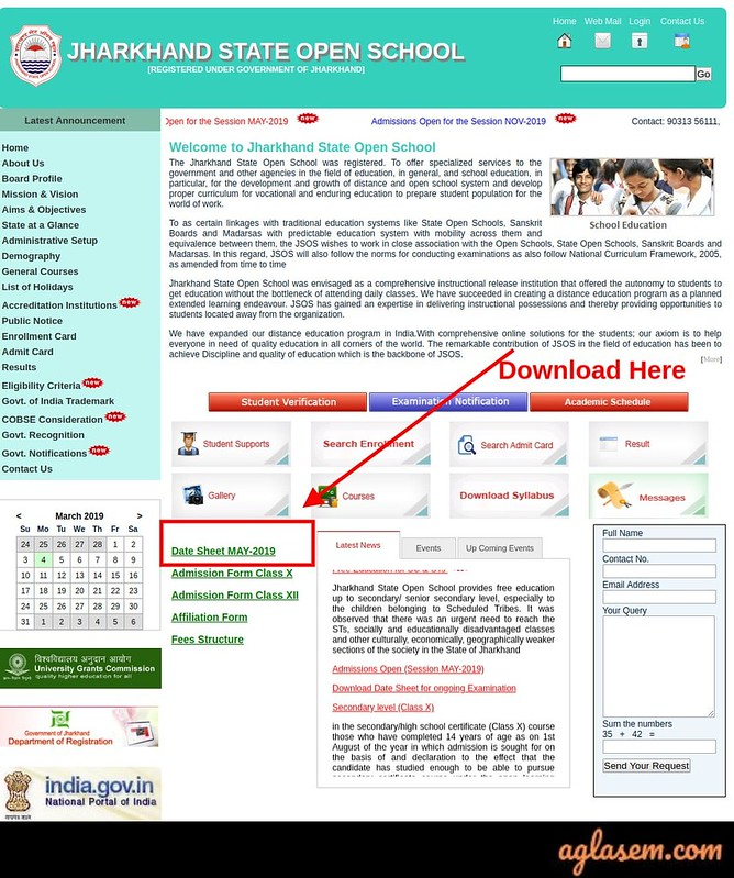 Jharkhand State Open School Time Table 2019
