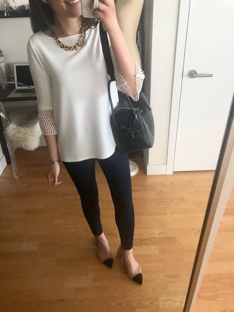 Ann Taylor Factory Lace Bell Cuff Top, size XXSP