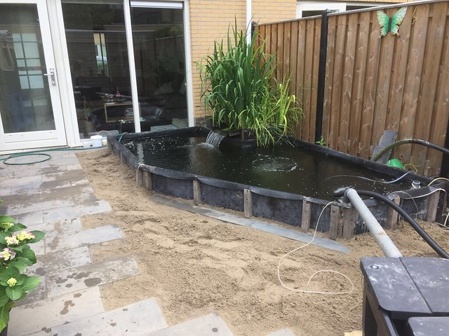 Foto 1.4 - Marco de la Penha - Het plantenfilter. Aanvoer van water onder de planten, water loopt over de vijver in.