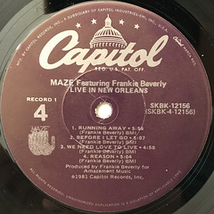 MAZE featuring FRANKIE BEVERLIE:LIVE IN NEW ORLEANS(LABEL SIDE-B)
