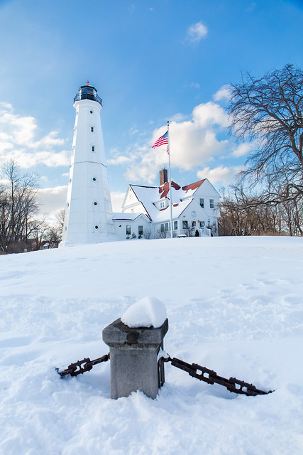 Snowy North Point Light Station