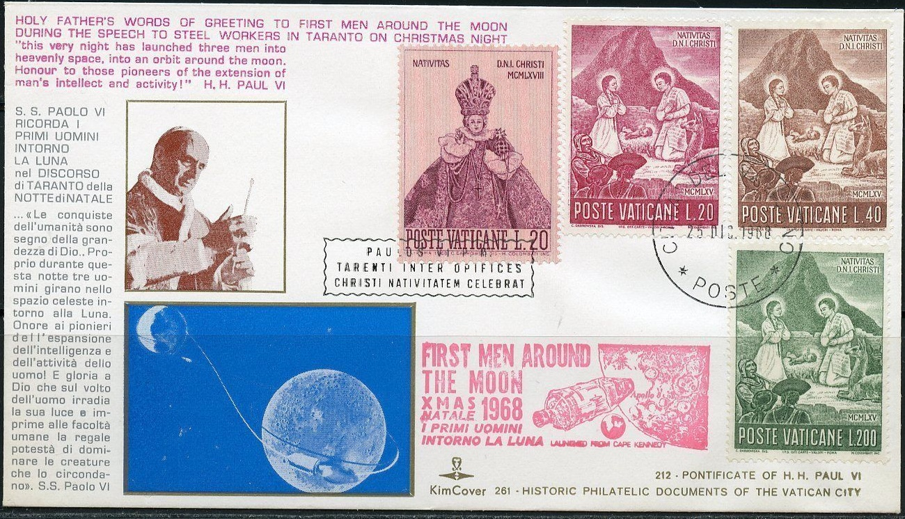Cover marking Pope Paul VI's Christmas Night greeting to the astronauts of Apollo 11, Vatican City, December 27, 1968
