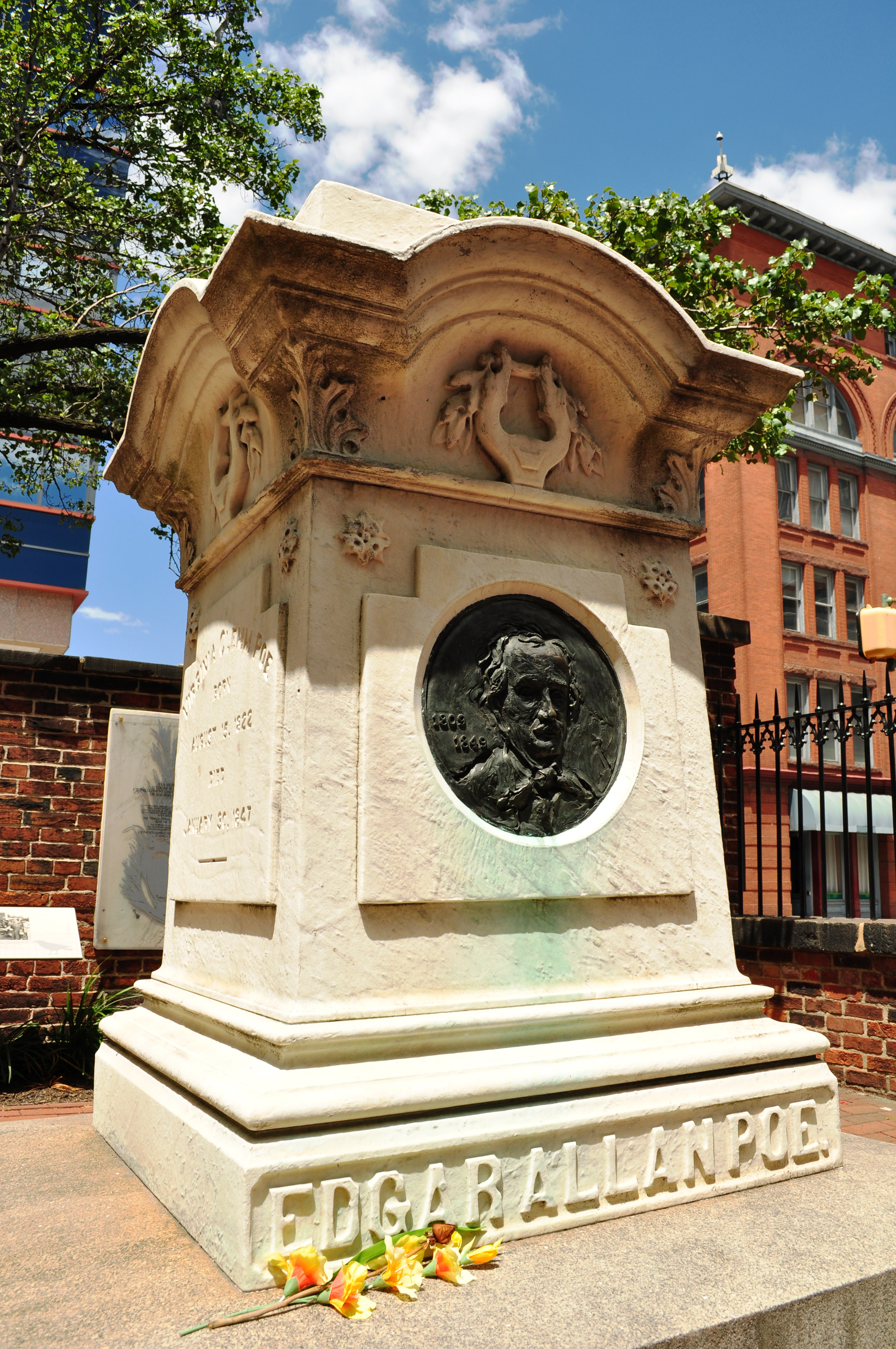 Edgar Allan Poe's grave in Westminster Hall and Burying Ground at 519 West Fayette Street (at North Greene Street) in Baltimore. Photo taken by <a href=