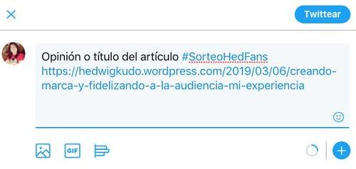 Tweet ejemplo #SorteoHedFans