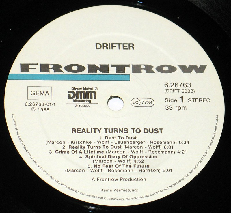 "Drifter Reality Turns to Dust 12"" VINYL LP"