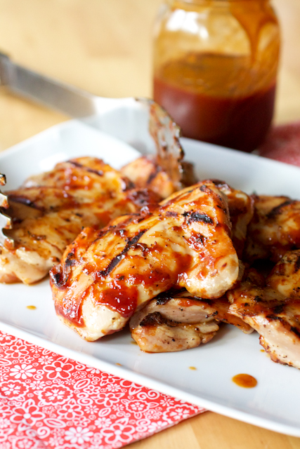 quick brined barbecued chicken thighs