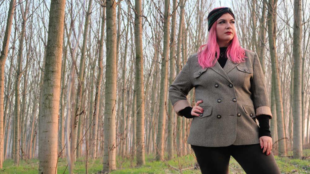 Outfit curvy e plus size, refashion giacca vintage (4)