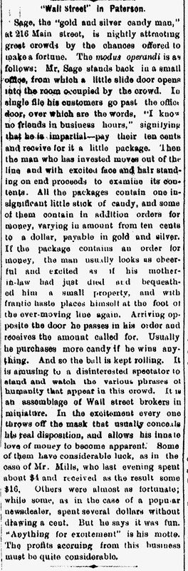 SAGES CANDY COIN newspaper article