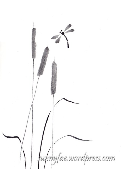 Chinese brush painting bulrushes & dragonflies, black ink