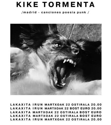Cartel del concierto d eKike Tormenta en Lakaxita, Irun