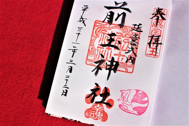前玉神社のニャンニャンの日御朱印「さくら」バージョン