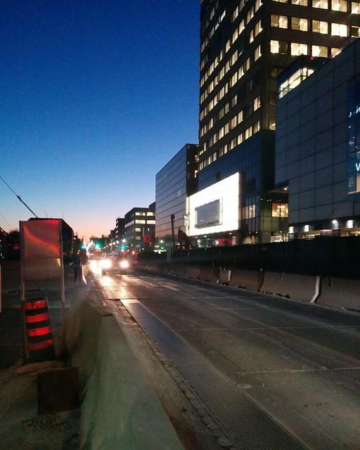 Looking west on Eglinton at Yonge, 8:07 pm #toronto #yongeandeglinton #eglintonavenue #evening #twilight #blue