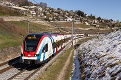 CFF RABe 522 FLIRT LEx entre Grandvaux et Bossière