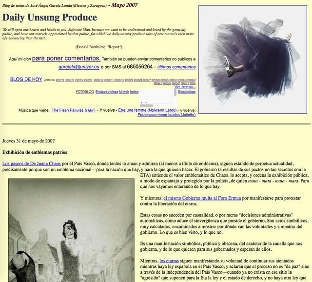 Daily Unsung Produce: Blog de notas de mayo de 2007