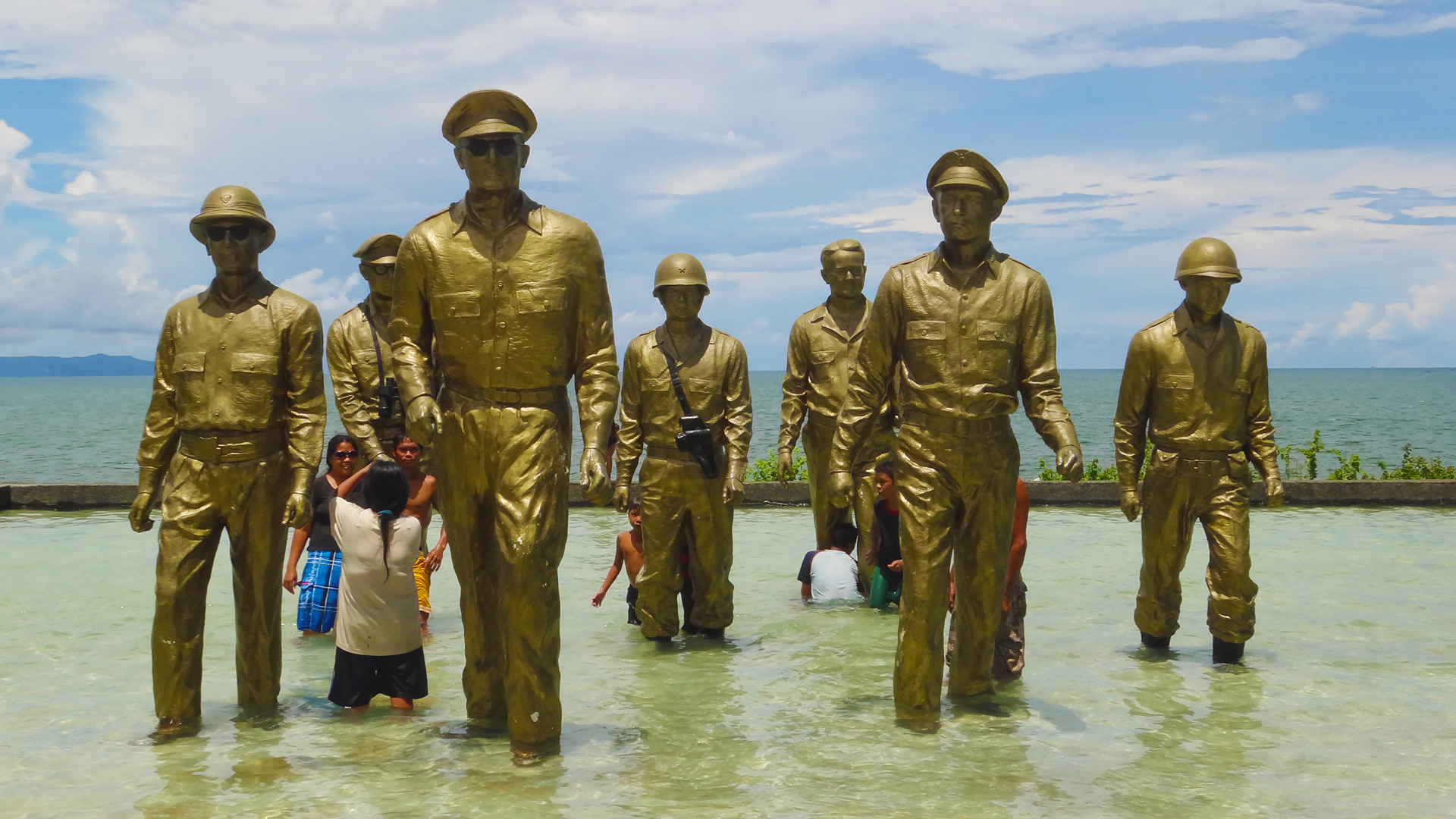 The MacArthur Leyte Landing Memorial National Park (also known as the Leyte Landing Memorial Park and MacArthur Park) is a protected area of the Philippines that commemorates the historic landing of General Douglas MacArthur in Leyte Gulf at the start of the campaign to recapture and liberate the Philippines from Japanese occupation on October 20, 1944. The war memorial is located in the municipality of Palo on Leyte island in Eastern Visayas and is one of the region's major tourist attractions. It was declared a national park on July 12, 1977. Photo taken on May 20, 2012.