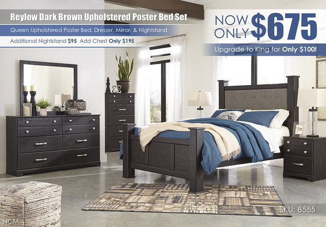 Reylow Dark Brown Poster Upholstered Bedroom Set_B555-31-36-46-67-64-98-92-Q742
