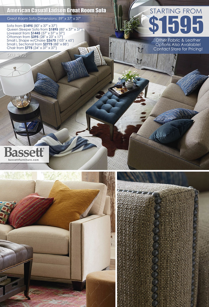 American Casual Ladson Fabric Great Room Sofa by Bassett_3105-72B_Layout