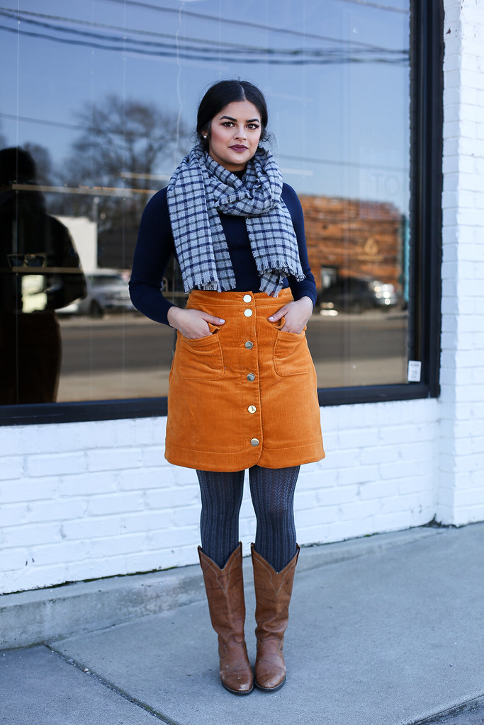 Priya the Blog, Nashville style blog, Nashville style blogger, Nashville fashion blog, Nashville fashion blogger, cowboy boots, how to wear cowboy boots, Nashville cowboy boots outfit, 70s inspired outfit, 70s wear to work outfit, winter fashion, winter outfit with cowboy boots, winter wear to work outfit, corduroy skirt, winter outfit with layering, how to style a corduroy skirt, checked scarf