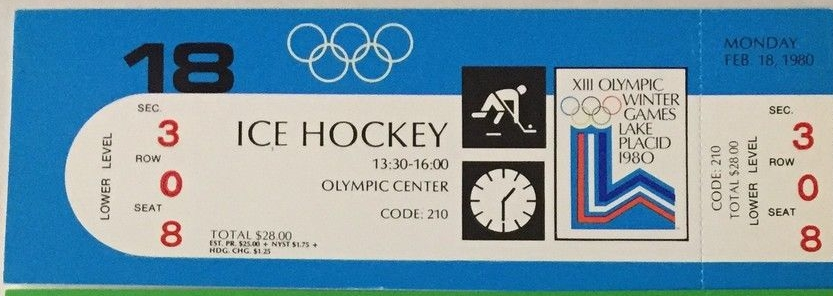Unused ticket for the hockey game in which Norway lost to Sweden 1-7 at the 1980 Winter Olympics in Lake Placid, New York.