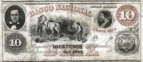 1858 Banco Nacional de Costa Rica 10 pesos