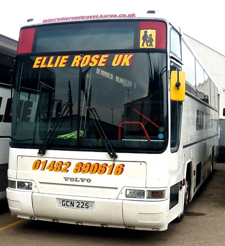 GCN 225 'Ellie Rose Travel Ltd.', 'Ellie Rose UK'. Volvo B10M / Plaxton Premiere on Dennis Basford's railsroadsrunways.blogspot.co.uk'