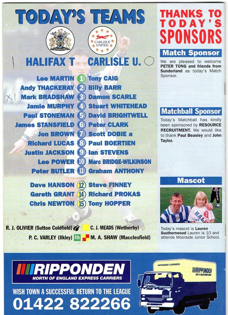 (Programme) 13-03-1999 Halifax Town 1-0 Carlisle United 2