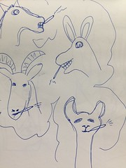 Horse, Donkey, Goat, Llama (all heads) smiling and getting high