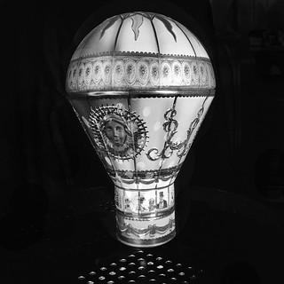 Light painted balloon ornament BW