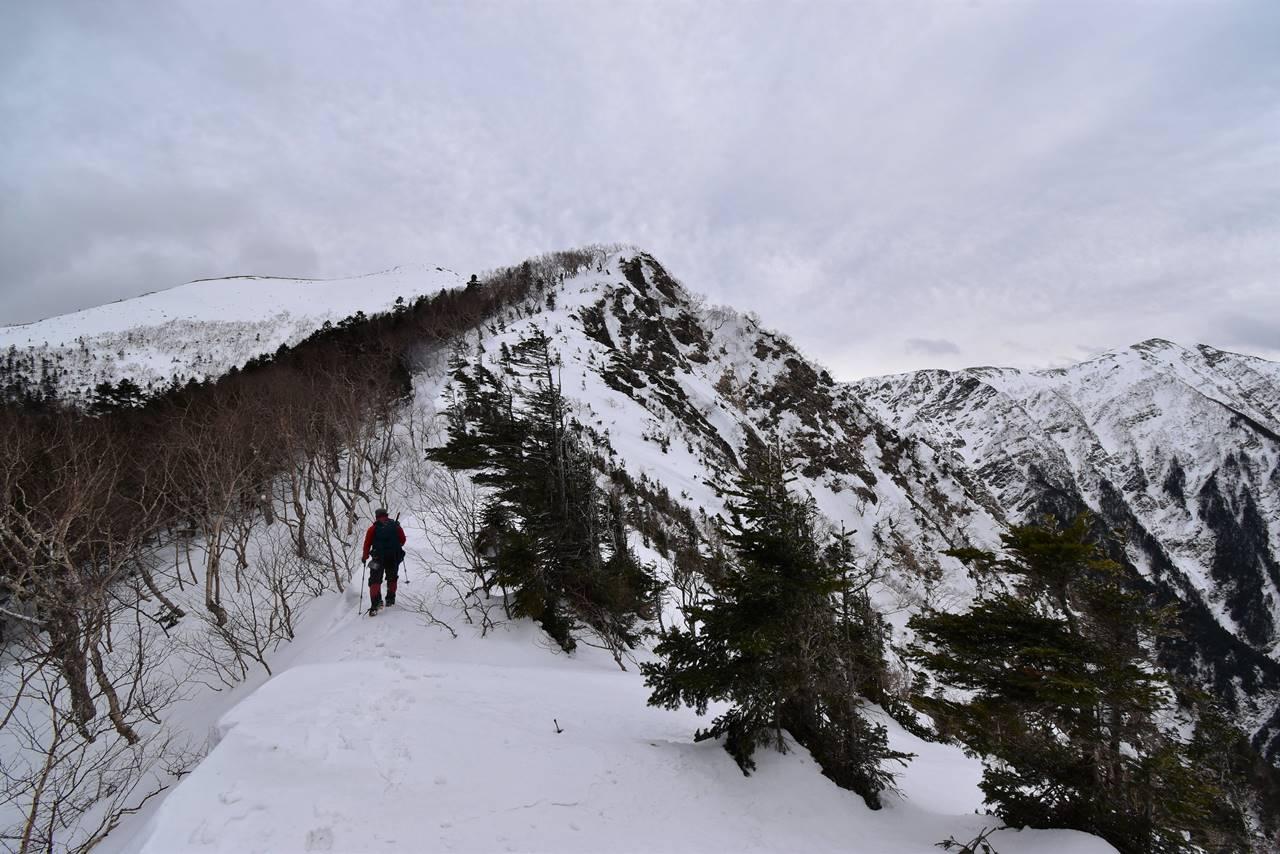 南アルプス烏帽子岳 雪山登山