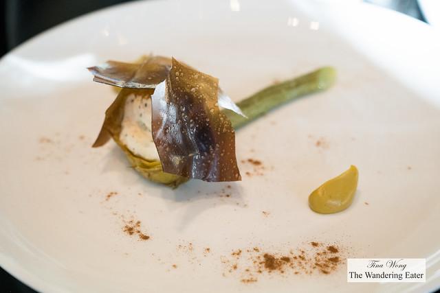 Artichoke, ricotta cheese, licorice, pistachio
