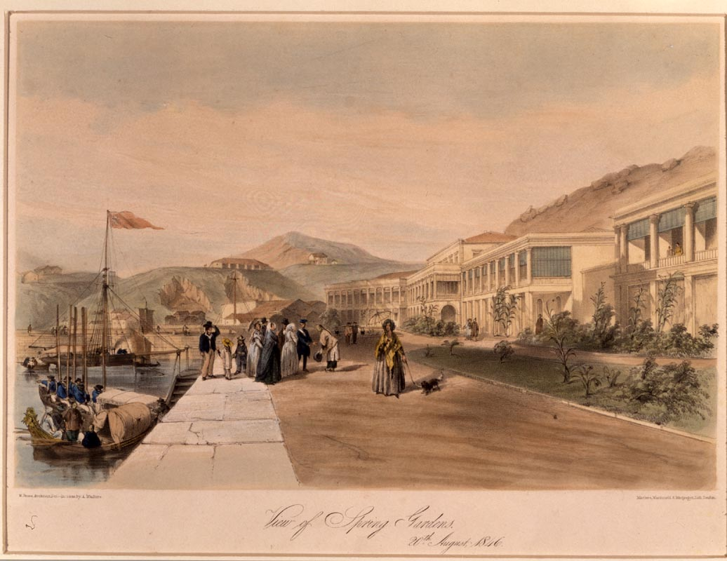 View of Spring Gardens, Hong Kong, 20 August 1846. Painted by Murdoch Bruce (fl. 1840–1854), lithograph by Andrew Maclure (1812–1885).