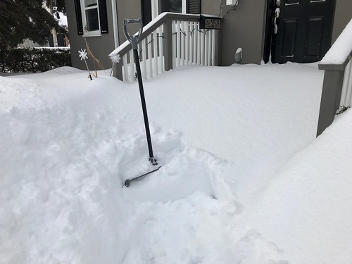 Deep snow on the front walk