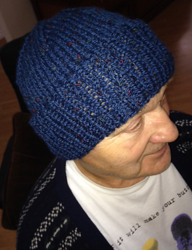 Connie knit this Watch Hat by Bruce Weinstein for Jerry!