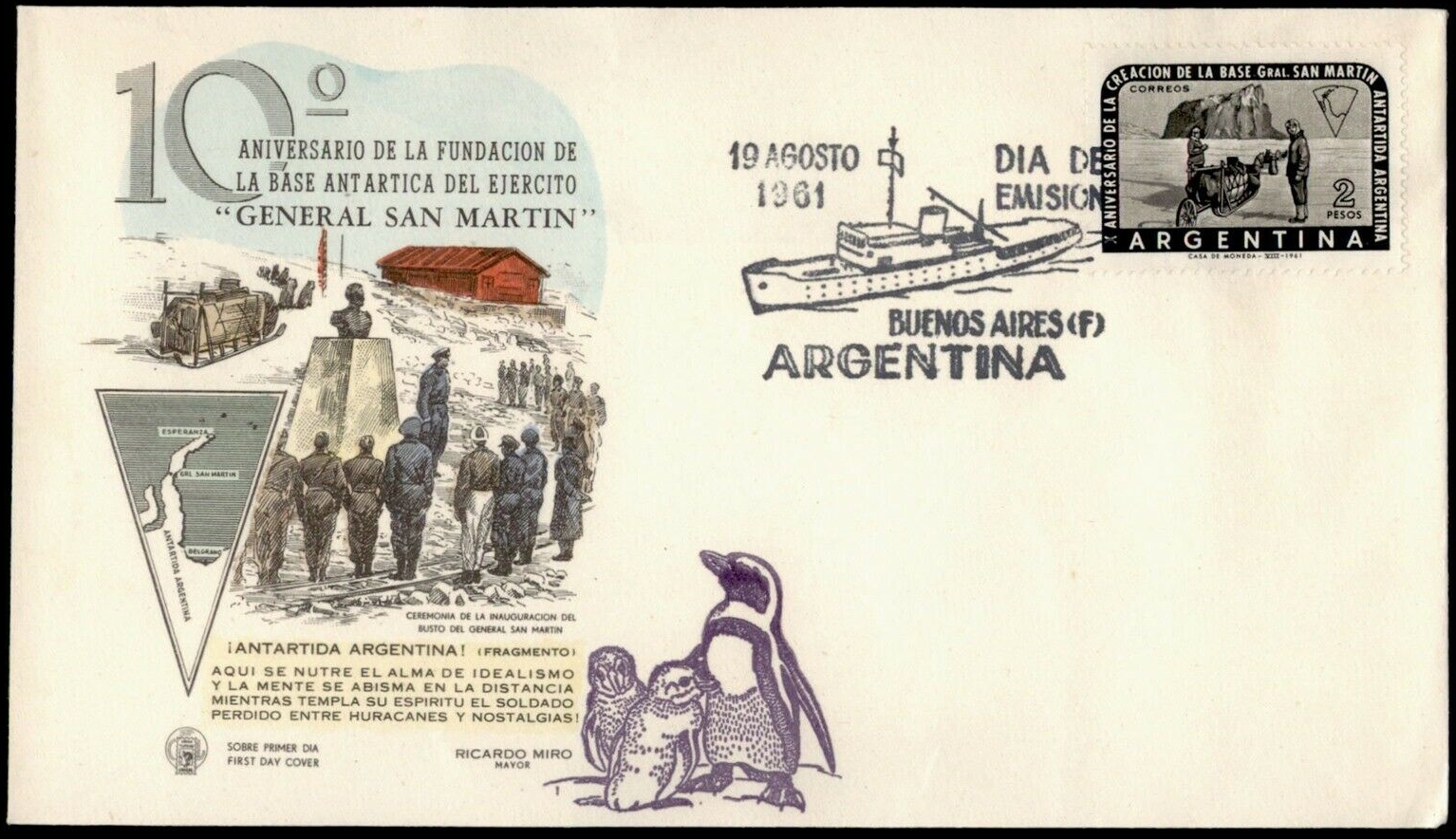 Argentina - Scott #731 (1961) first day cover - 10th anniversary of General San Martin Army Base in Antarctica
