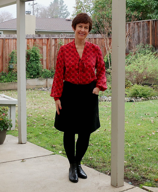 red silk tie blouse with skirt
