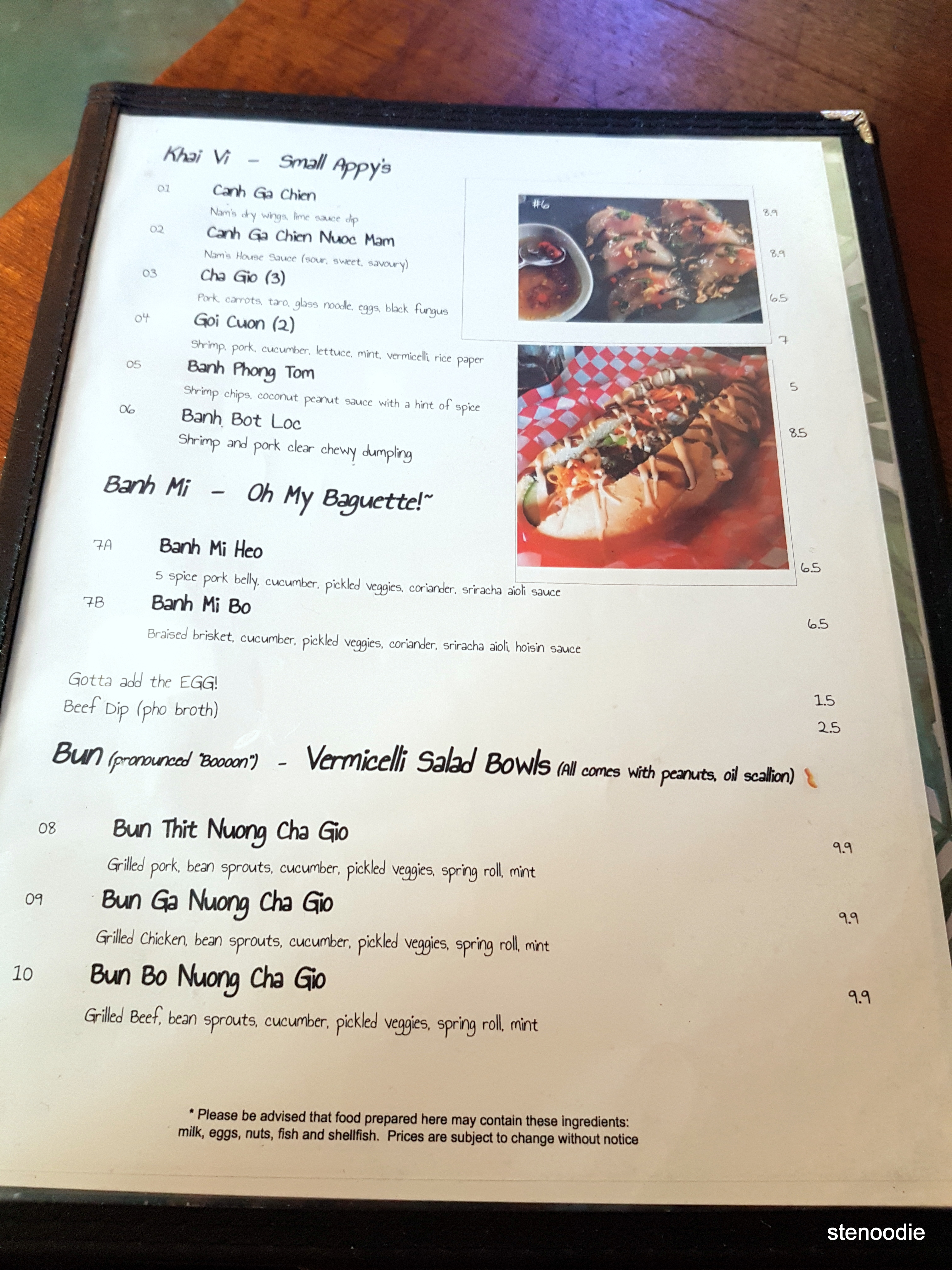 Nam Vietnamese Restaurant menu and prices