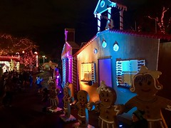Gingerbread house decoration at night