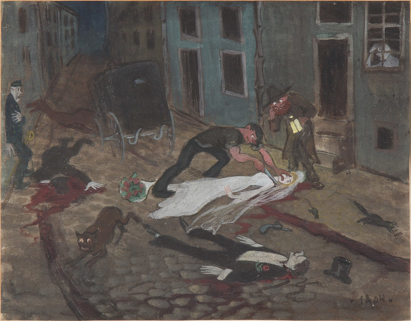 Ivar Arosenius - A Scary Nighttime Scene, 1904