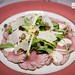 Seared carpaccio of veal, smoked 'tonnato' sauce, green apple frisee sald, fried capers