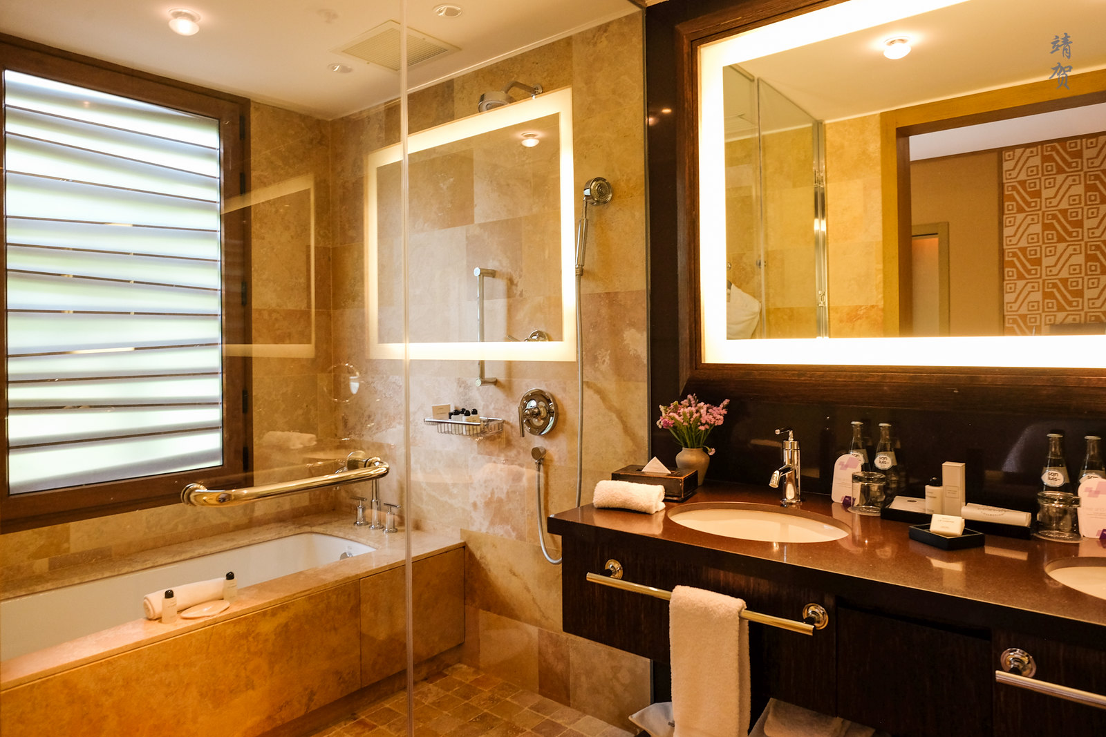 Bathroom with large shower area