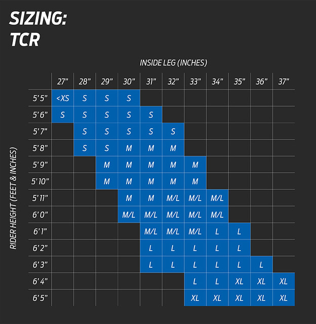 Giant TCR Size Chart