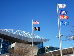 Flags Over The AirTrain Station