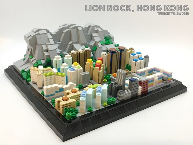 Microscale LEGO model of Lion Rock overlooking Hong Kong | The Brothers Brick