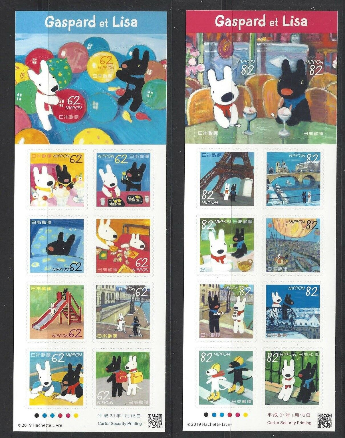 Japan - 20th Anniversary of Gaspard and Lisa Animated Series (January 16, 2019) 2 booklets of 8