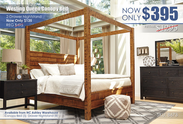 Wesling Queen Canopy Bed Special_B673-31-36-46-50-72-99-92_AshleyNote