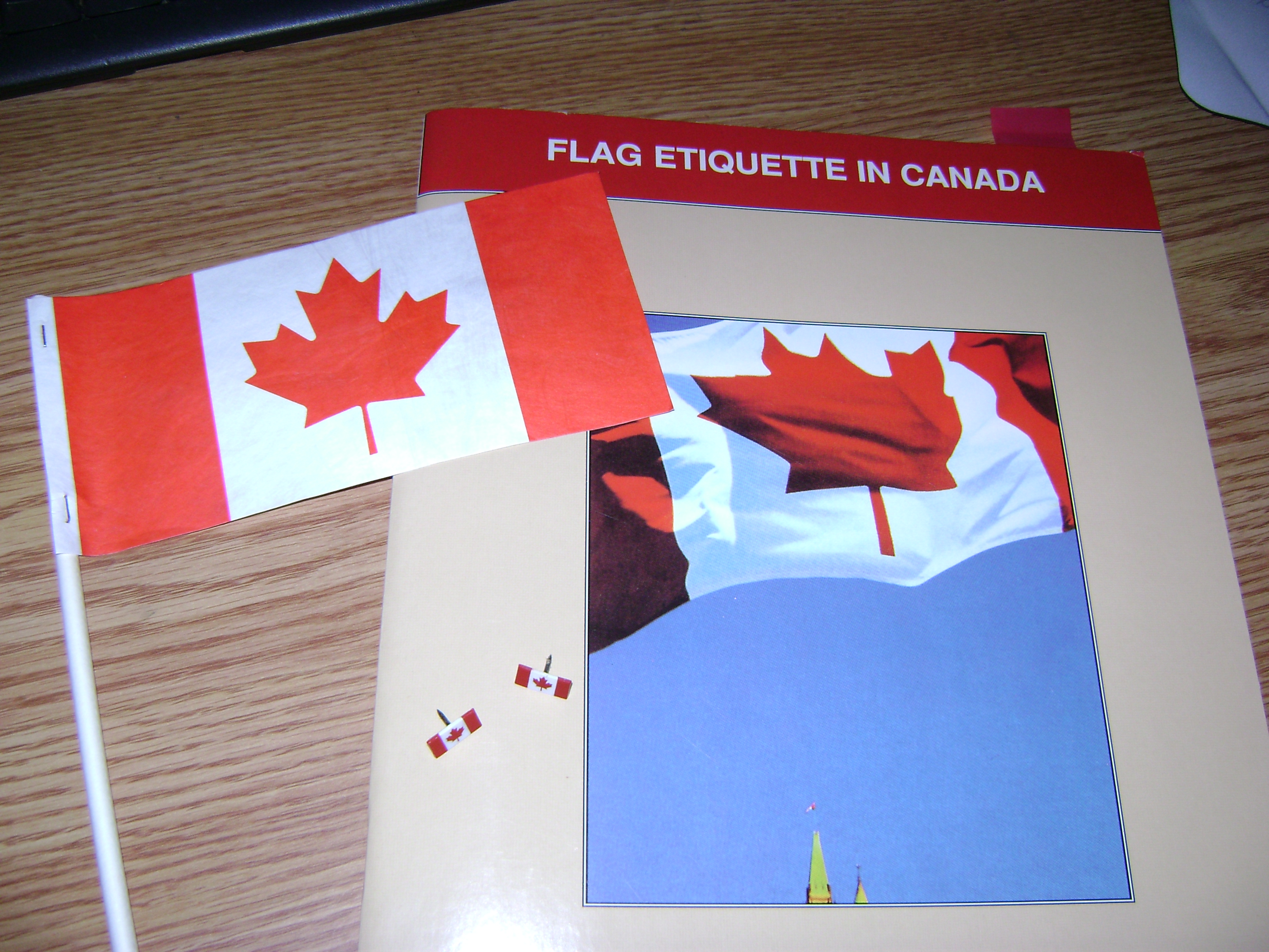 Items from the Canadian Parliamentary Flag Program, including a flag, book and pins